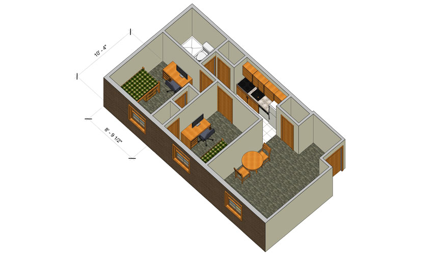 rendering of a Forest Lane small two bedroom apartment with furniture