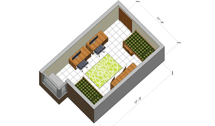 rendering of a Hamilton Hall double room with furniture