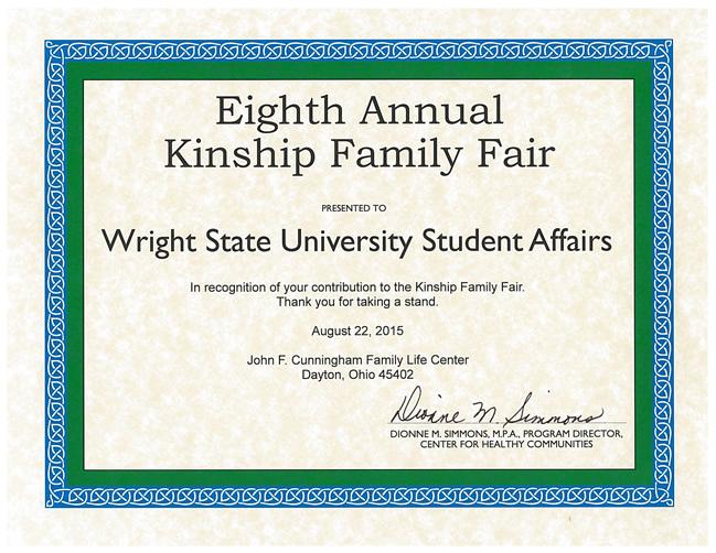 Kinship Appreciation Certificate 2015
