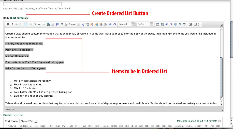 screenshot of Ordered List