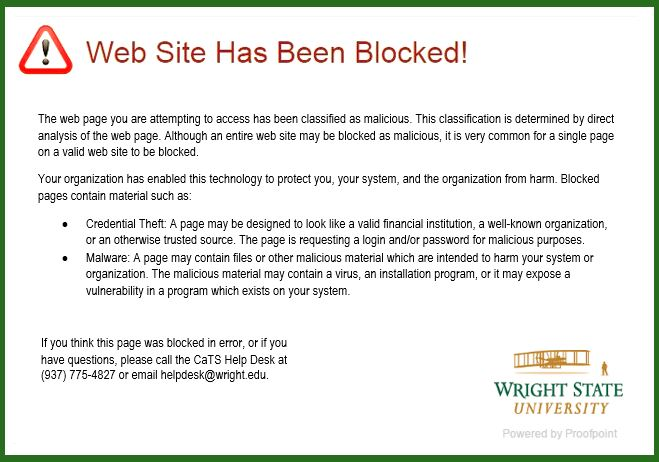screen capture of the web site has been blocked pop up