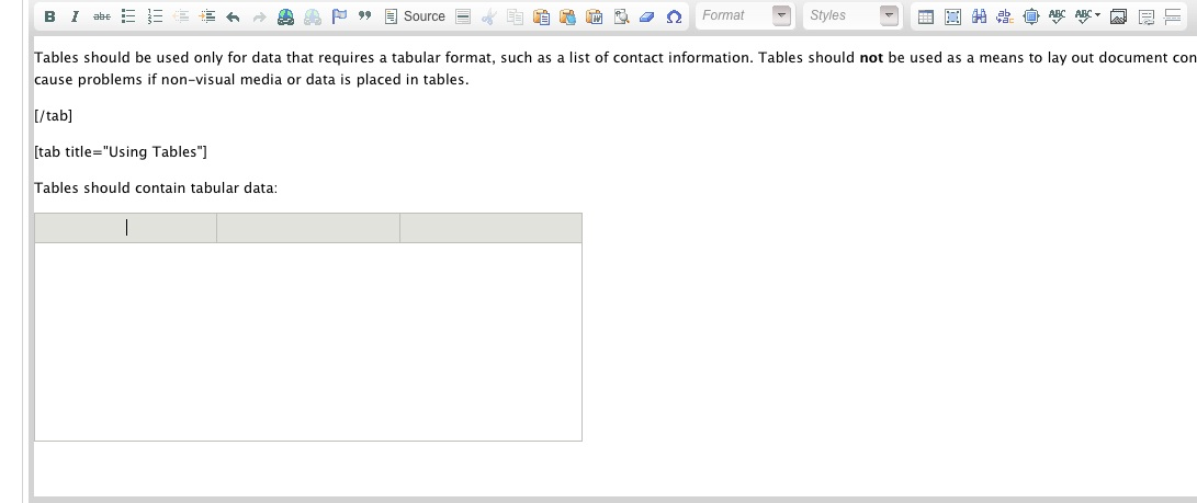 Screenshot of empty Table in Drupal edit mode