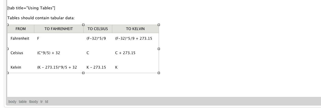 Screenshot of Table in Drupal edit mode