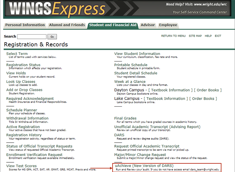 In Wings Express select uAchieve (New) from the Student and Financial Aid, Registration and Records menu