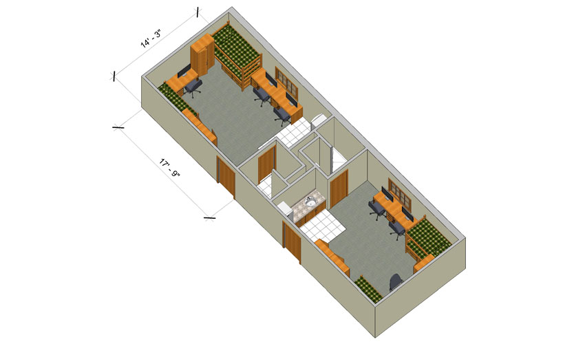 rendering of a Woods triple room with furniture