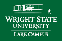 Wright State Lake Campus primary logo - white