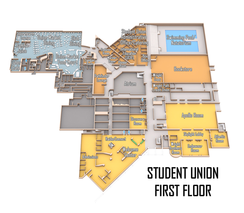 Wright State Student Union first floor Map