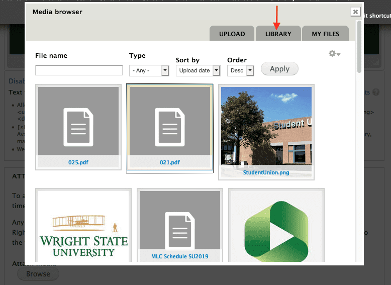 Media browser screenshot of Library tab, showing several files to choose from.
