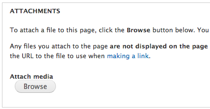 Screenshot of node edit page showing position of Attachments field and Browse button