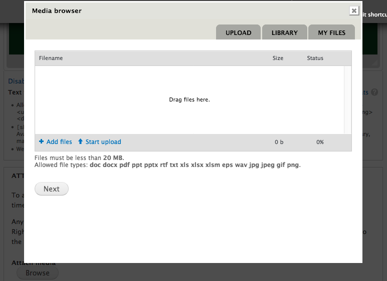 Screenshot of media browser dialog, which appears when you click browse and allows you to upload files.