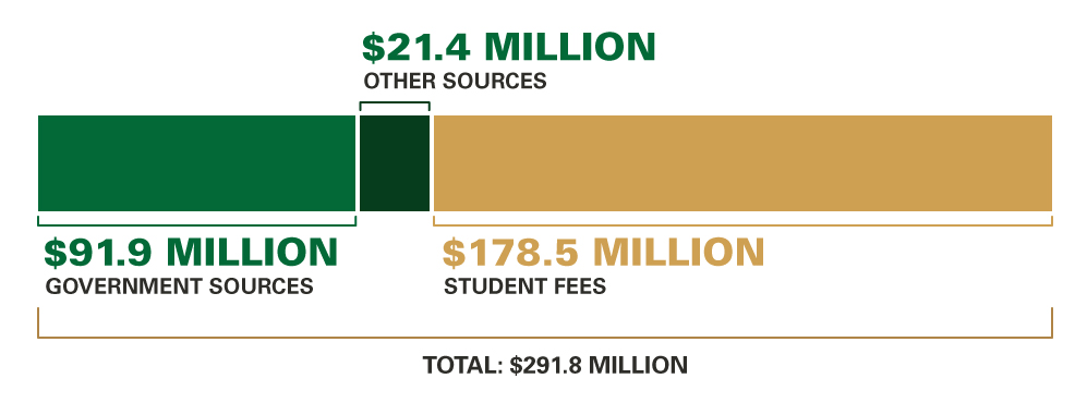 University Income (Budgeted), 2017–18: Government Sources $91.9 million; Other Sources $21.4 million; Student Fees $178.5 million; Total $291.8 million