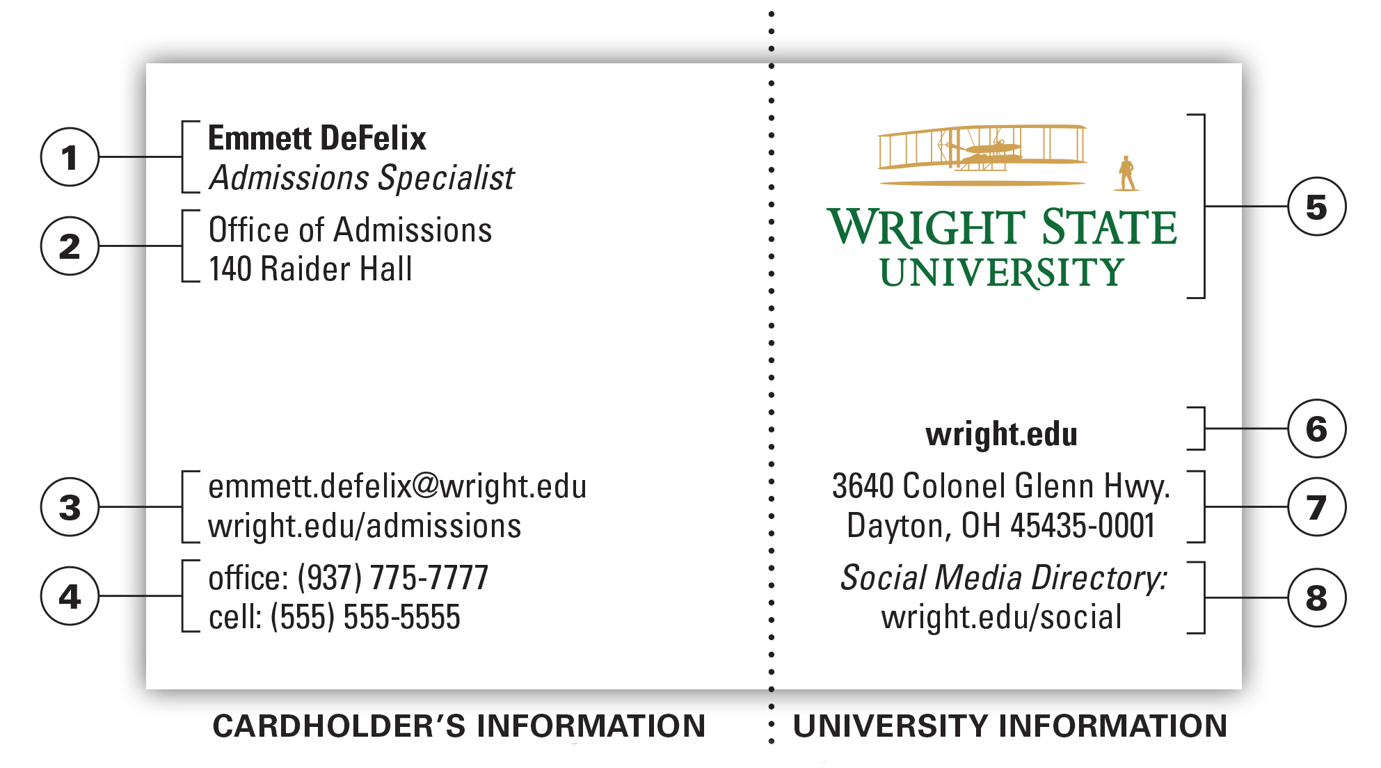 University Business Card Office Of Marketing Wright State - Office business card template