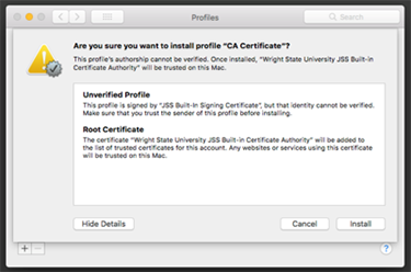 screen capture of the casper ca certificate install are you sure window