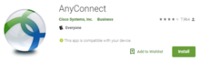 screen capture of the cisco anyconnect icon for android devices
