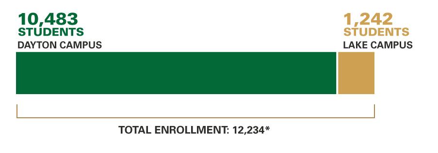 Enrollment, Fall 2019: Dayton Campus: 12,080; Lake Campus: 1,248; Total Enrollment: 13,742