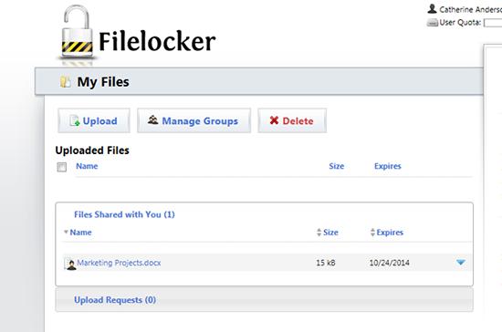 screen capture of the filelocker uploaded files screen