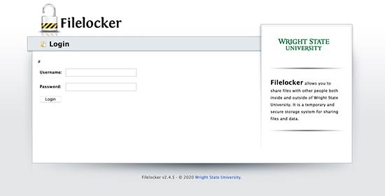 screen capture of the filelocker log in screen