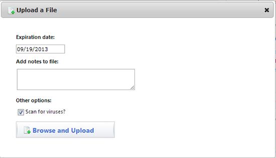 screen capture of the filelocker uploading a file screen