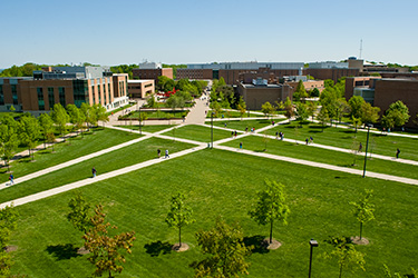 photo of aerial view of campus