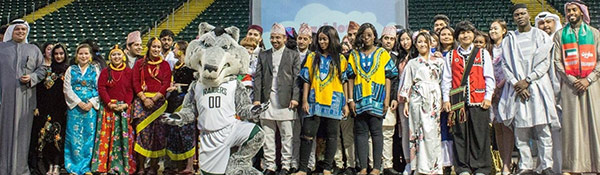 International festival photo of multicultural people standing