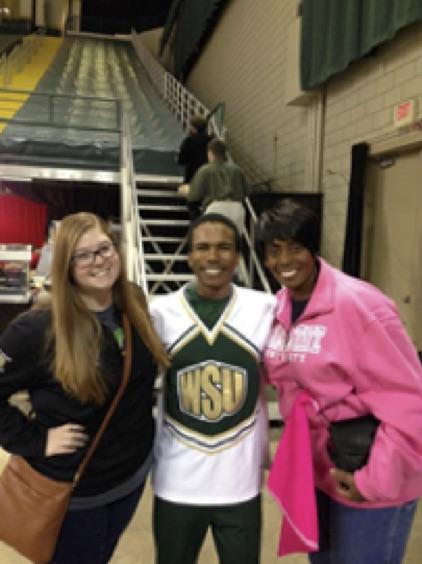 WSU Parents & Family Weekend, Spring 2015: Katherine Nevils, SAHE GA; Deshon Ingram, ISN Student & Cheer Leader; and Simone Polk