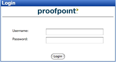 screen capture of the proofpoint login screen