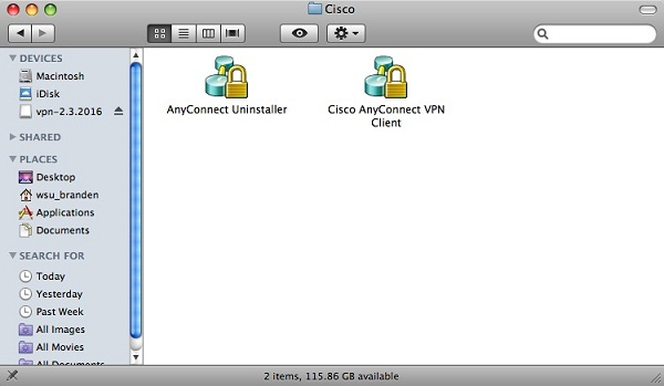 screen capture of the mac cisco window