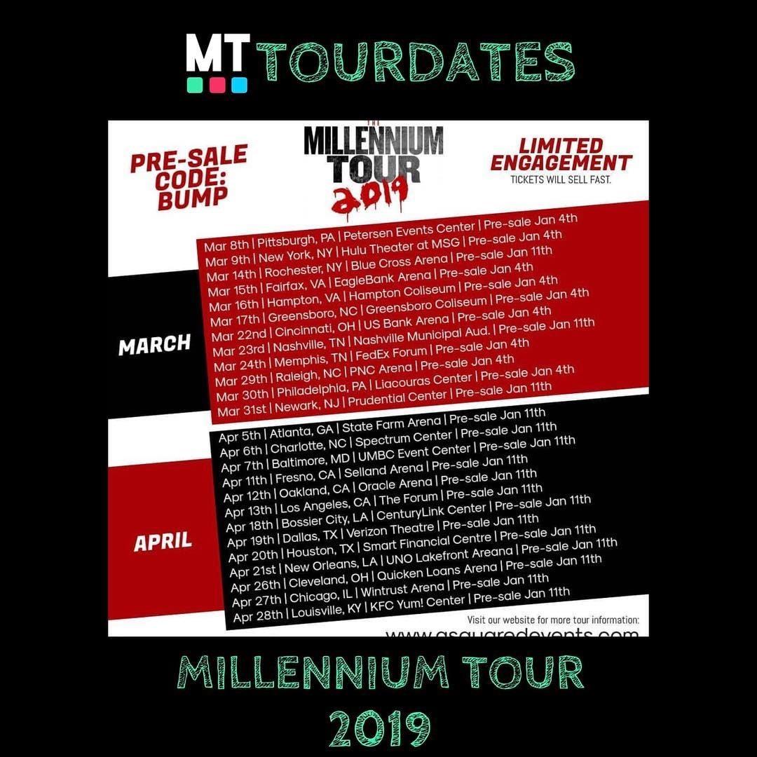 Millennium Tour 2019 dates