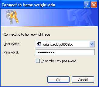screen capture of the username and password screen