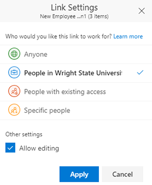 screen capture of the onedrive link settings window