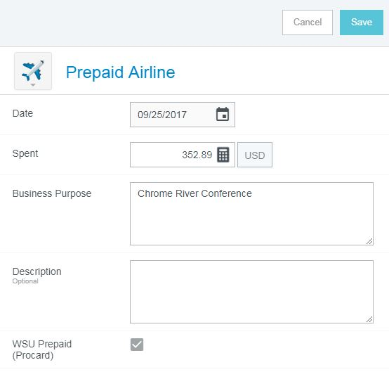 screenshot of expense description page with WSU prepaid (procard) box checked