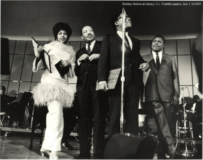 (Aretha Franklin, Rev. Martin Luther King, and her father C.L. Franklin)
