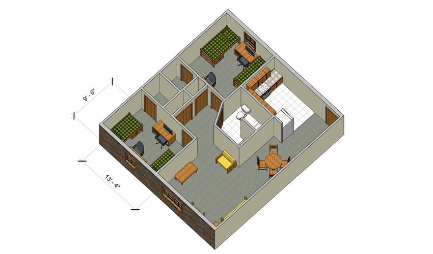 rendering of a Forest Lane large two bedroom apartment with furniture