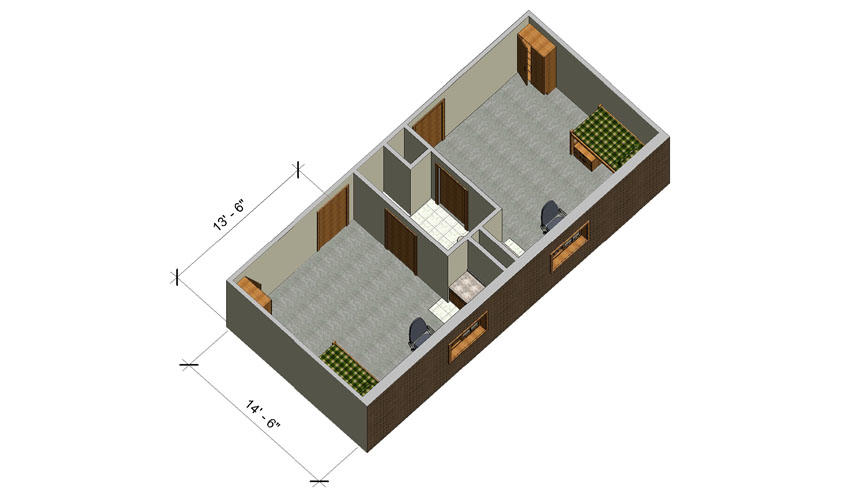 rendering of a Honors single room with furniture
