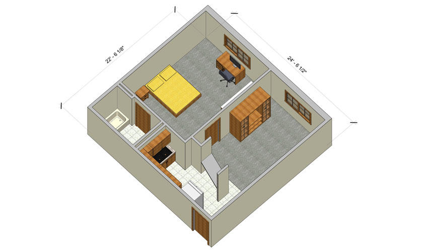 rendering of a Village one bedroom apartment with furniture