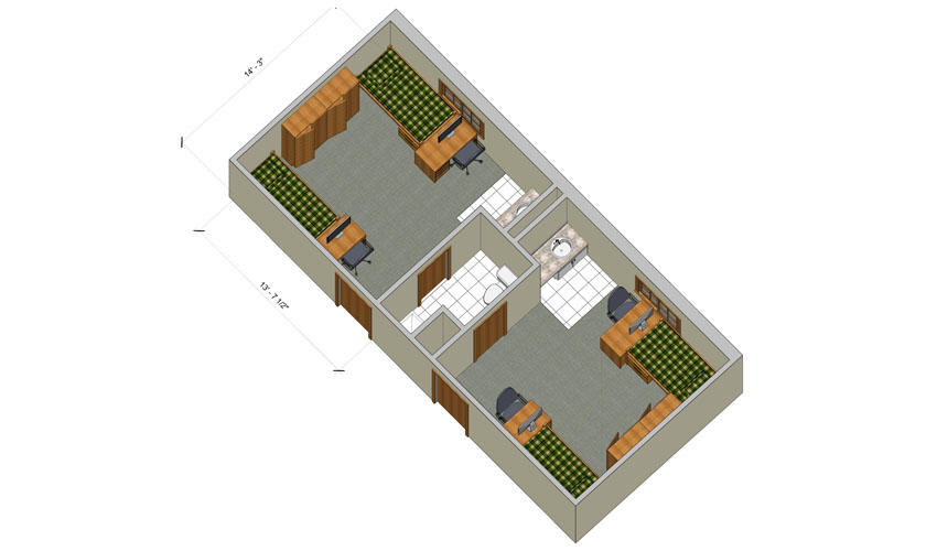 rendering of a Woods double room with furniture