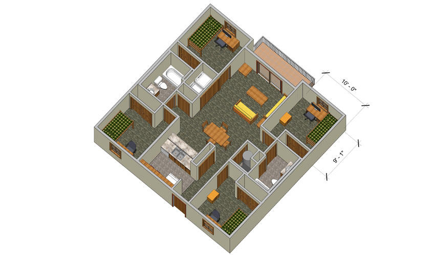 rendering of a College Park quad B, C, and D apartment with furniture