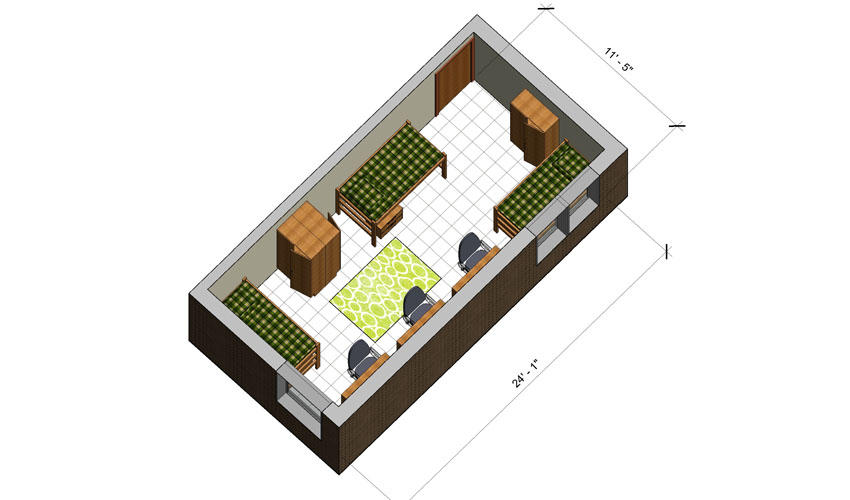 rendering of a Hamilton Hall triple room with furniture