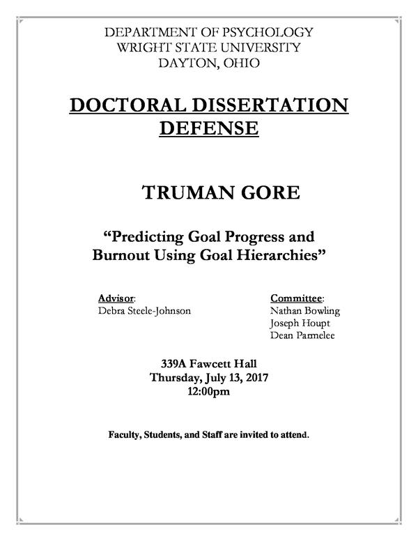 Dissertation defense psychology