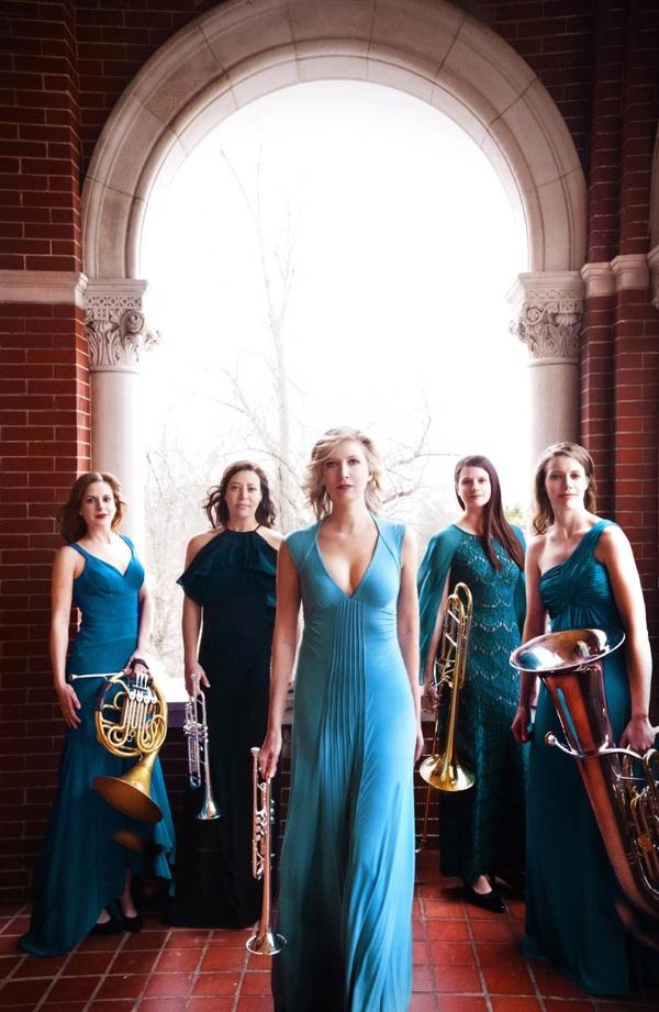 Seraph Brass publicity shot: five women with brass instruments