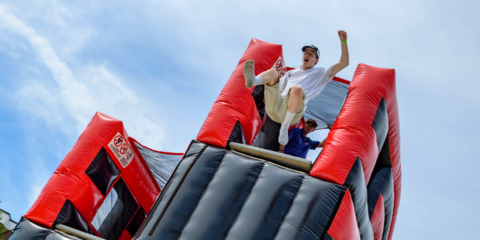 Student on inflatable