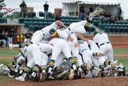 WSU baseball team pile on