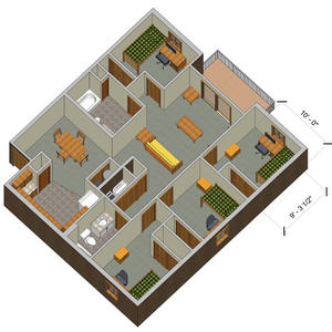 rendering of a College Park quad e apartment with furniture