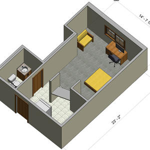 rendering of a Village efficiency apartment with furniture