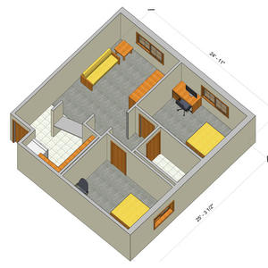 rendering of a Village two bedroom apartment with furniture