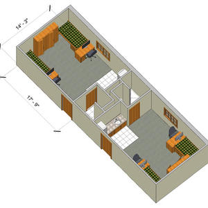 rendering of a Woods double deluxe room with furniture