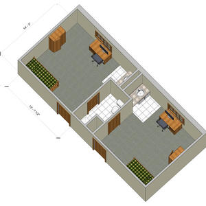 rendering of a Woods super single room with furniture