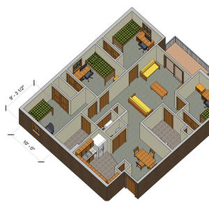 rendering of a College Park quad A apartment with furniture