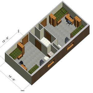 rendering of a Honors double room with furniture