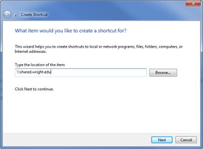 screen capture of the create shortcut window